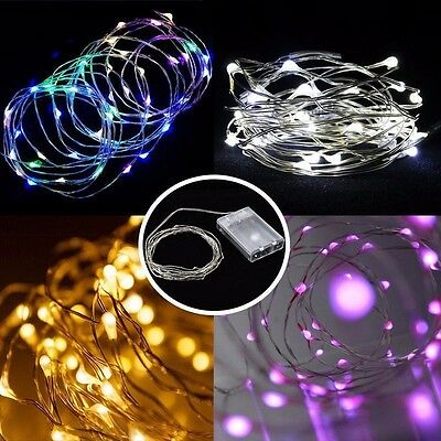 5M Battery Operated Lights 50 LED Micro Silver Wire Waterproof Fairy Xmas Party
