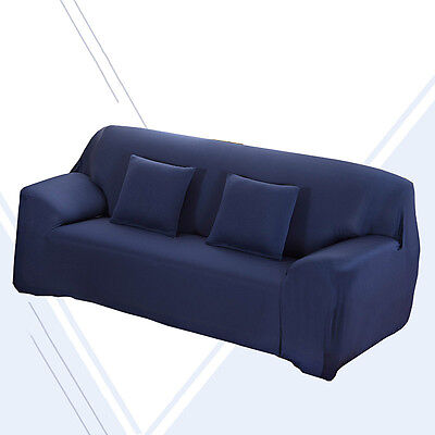 2 Seater Stretch Fabric Fit Sofa Lounge Home Removable Cover Slipcover Navy