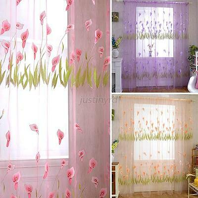 Door Drape Decal Room Curtain Divider Scarf Sheer Voile Window Curtain Decor New