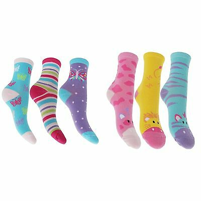 Childrens Girls Cotton Rich Butterfly/Jungle Animal Socks (Pack Of 3)