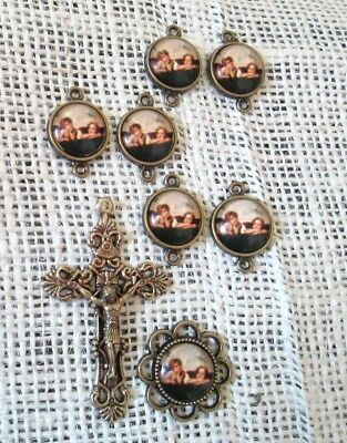 Rosary CENTER & CRUCIFIX & PATER Our Father beads Raphel Angel 8pc BRONZE