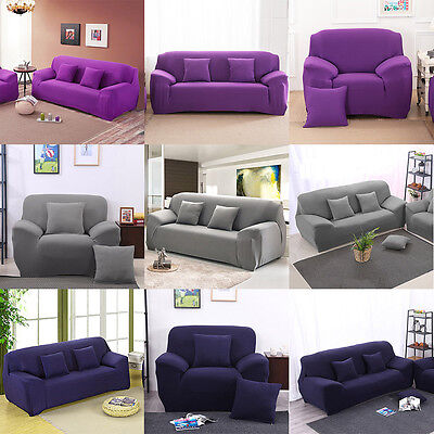 Pure Color Removable Elastic Sofa Slipcover Lounge Couch Cover For 1 2 3 Seater