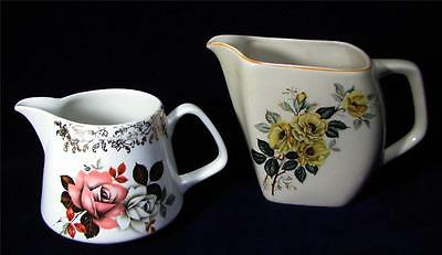 Vintage Lord Nelson Pottery - Milk + Creamer JUGS - Roses