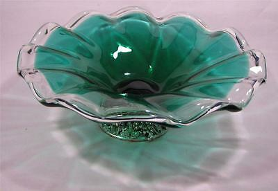 Vintage Green Cased Art Glass DISH Chrome - Murano Styled