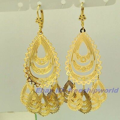 """3pair Wholesale 2.83"""" REAL TOP 18K YELLOW GOLD GP DANGLE EARRING DROP SOLID FILL"""