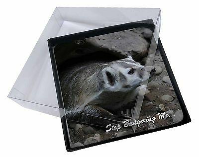 4x Badger-Stop Badgering Me! Picture Table Coasters Set in Gift Box, ABA-3C