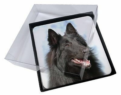 4x Black Belgian Shepherd Dog Picture Table Coasters Set in Gift Box, AD-BS3C