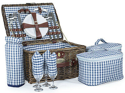 Andes 4 Person Luxury Wicker Basket Outdoor Summer Picnic Hamper Set