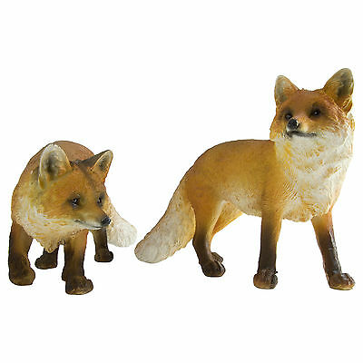 Realistic Polyresin Red Fox Garden Statue Sculpture Ornament