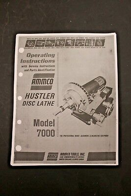 "Ammco 7000 ""Hustler"" Disc Brake Lathe Operating Manual & Parts Identification"