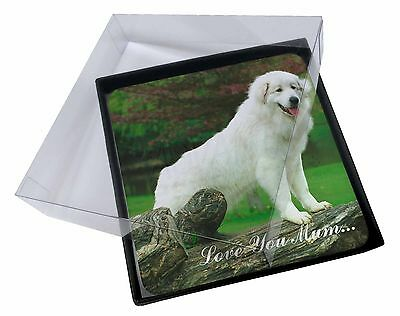 4x Pyrenean Mountain Dog 'Love You Mum' Picture Table Coasters Set i, AD-PM1lymC