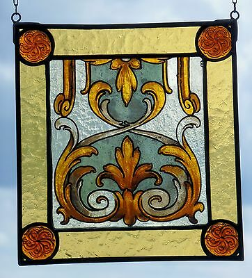 """LEADED GLASS WINDOW Image Stained Glass """" Victorian Ornament """""""