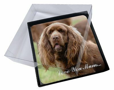 4x Sussex Spaniel Dog 'Love You Mum' Picture Table Coasters Set in , AD-SUS1lymC