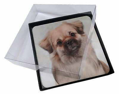 4x Tibetan Spaniel Dog Picture Table Coasters Set in Gift Box, AD-TS1C