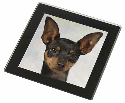 English Toy Terrier Dog Black Rim Glass Coaster Animal Breed Gift, AD-ET1GC