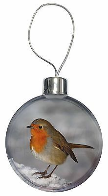 Robin on Snow Wall Christmas Tree Bauble Decoration Gift, AB-R15CB