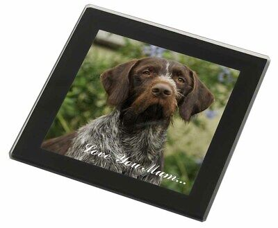 German Wirehaired Pointer 'Love You Mum' Black Rim Glass Coaster A, AD-GWP1lymGC
