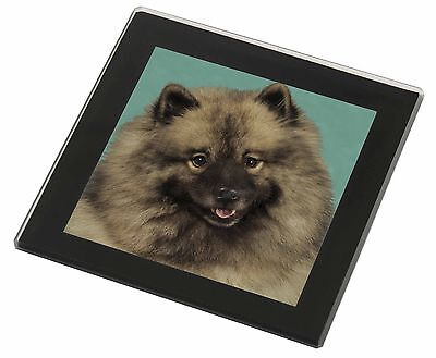 Keeshond Dog Black Rim Glass Coaster Animal Breed Gift, AD-KEE1GC