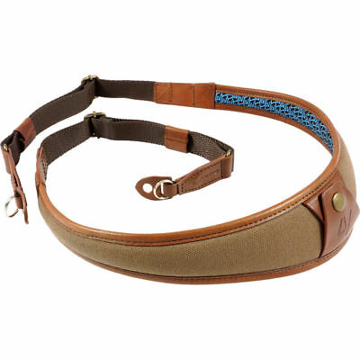 4V Design ALA Canvas and Leather Ring Fit Camera Neck Strap in Brown/Brown