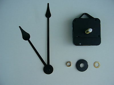 HIGH TORQUE CLOCK MOVEMENT LONG SPINDLE 140MM BLACK french spade metal hands