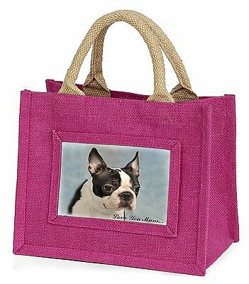 Boston Terrier Dog 'Love You Mum' Little Girls Small Pink Shopping, AD-BT8lymBMP