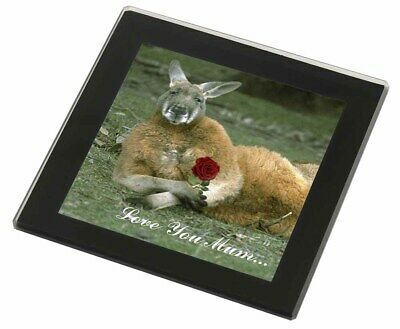 Kangaroo+Rose 'Love You Mum' Black Rim Glass Coaster Animal Breed Gi, AK-1RlymGC
