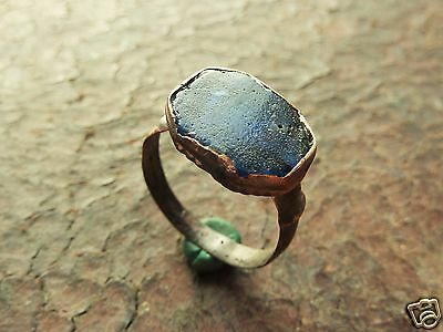 Medieval  ring with glass insert.  (378)