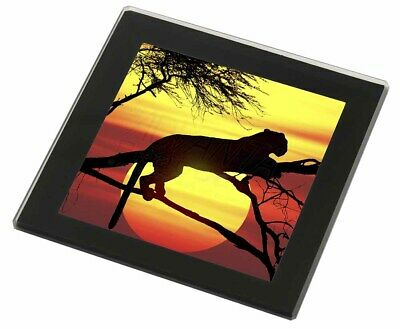 Leopard Black Rim Glass Coaster Animal Breed Gift, AT-31GC