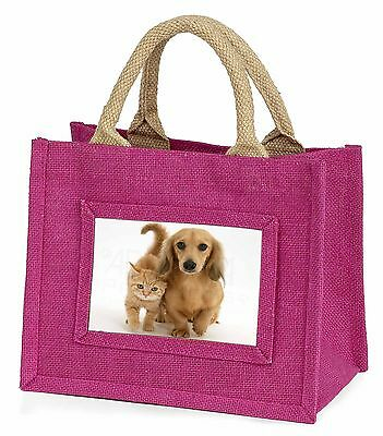 Dachshund Dog and Kitten Little Girls Small Pink Shopping Bag Christm, AD-DU1BMP