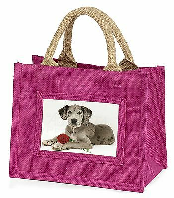 Great Dane with Red Rose Little Girls Small Pink Shopping Bag Christ, AD-GD2RBMP