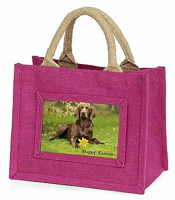 'Happy Easter' German Pointer Little Girls Small Pink Shopping Ba, AD-GSP1DA1BMP