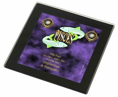 Pisces Star Sign Birthday Gift Black Rim Glass Coaster Animal Breed Gi, ZOD-12GC