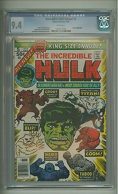 Incredible Hulk Annual #5 (CGC 9.4) White pg; Groot; Kirby cover; 1976 (c#07789)