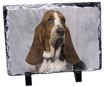 Basset Hound Dog Photo Slate Christmas Gift Ornament, AD-BH6SL