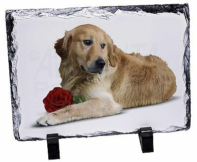 Golden Retriever with Red Rose Photo Slate Christmas Gift Ornament, AD-L47RSL