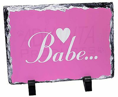 Gorgeous Hot Pink 'Babe' Photo Slate Christmas Gift Ornament, BABE-1SL