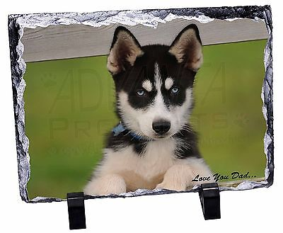 Husky Pup 'Love You Dad' Photo Slate Christmas Gift Ornament, DAD-56SL