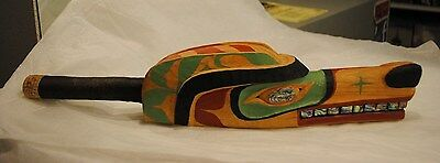 Hand Carved Native American Wolf Rattle~Artist Signed~Alder Wood Carving Abalone