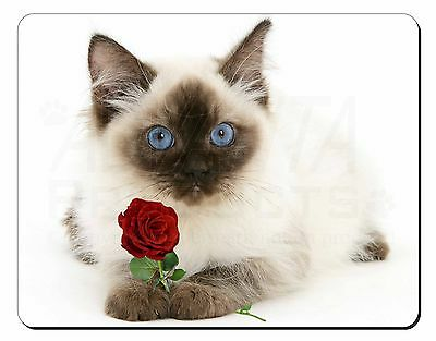 Ragdoll Kitten Cat with Red Rose Computer Mouse Mat Christmas Gift Ide, AC-159RM