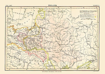 1878 Color Map of the KINGDOM of POLAND - The Differing Borders
