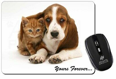 Basset Hound and Cat 'Yours Forever' Computer Mouse Mat Christmas Gift , AD-BH2M