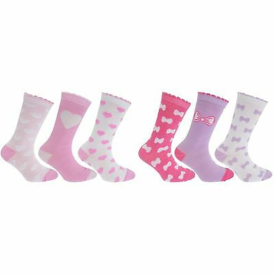 Childrens Girls Heart/Bow Print Socks With Scallop Trim (Pack Of 3)