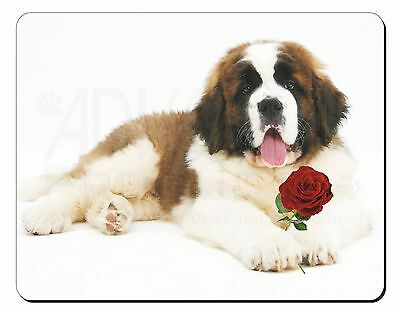 St. Bernard Dod with Red Rose Computer Mouse Mat Christmas Gift Idea, AD-SBE5RM