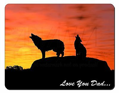 Sunset Wolves 'Love You Dad' Computer Mouse Mat Christmas Gift Idea, DAD-151M