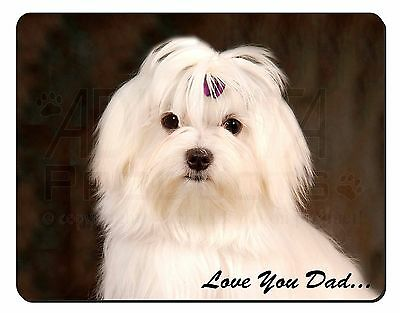 Maltese Dog 'Love You Dad' Computer Mouse Mat Christmas Gift Idea, DAD-77M