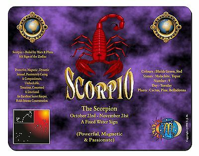 Scorpio Star Sign of the Zodiac Computer Mouse Mat Christmas Gift Idea, ZOD-8M