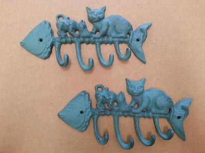 2 X Cast Iron Cats On Fish Bone Hat / Towel / Coat Hanger Hook