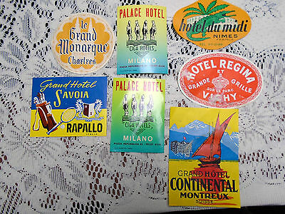7 Vintage Luggage Stickers Milano Suisse Italia Vichy France Grand Tour