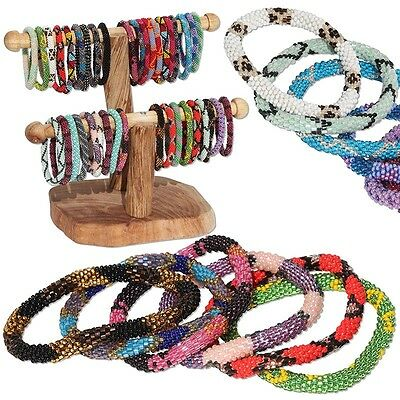 Laura,Nepal Bracelet Glass Seed Bead Roll On Crochet Nepal Handmade Bracelets