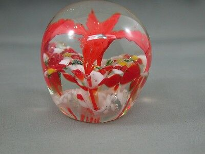 Beautiful Vintage Art Glass Paperweight Vivid Red Flower Lily Unique Design